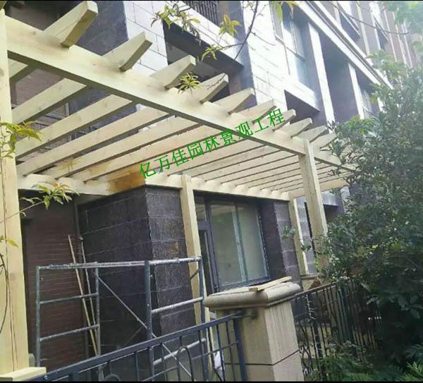 靖远国际城防腐木廊架安装