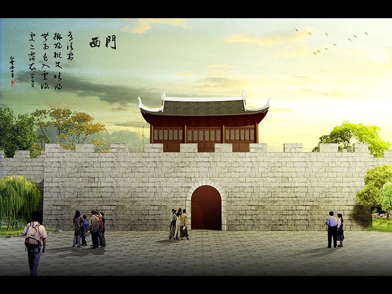 盤縣西門效果圖——古城墻設計