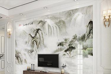 彩瓷板电视背景墙