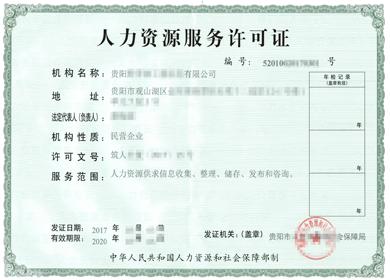 贵州办理人力资源服务许可证