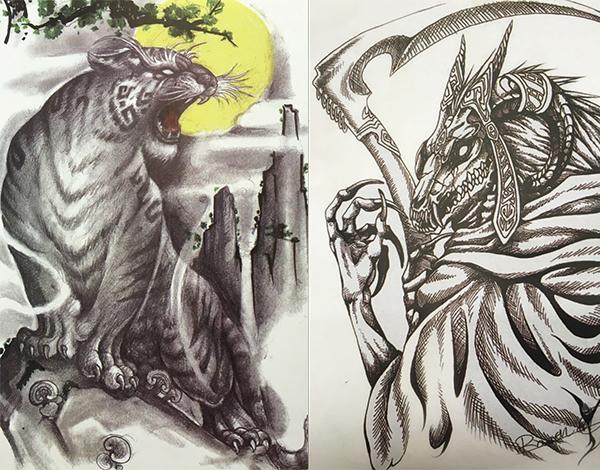 传统彩色纹身图案