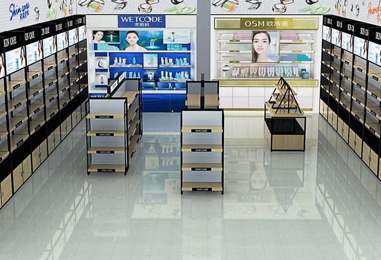 化妆品店钢木货架