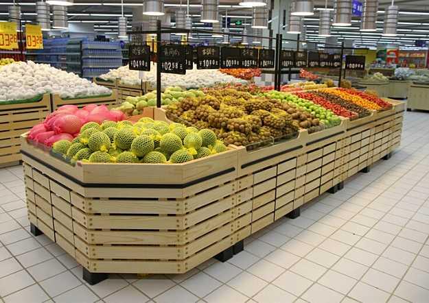 云南超市蔬果区木制货架