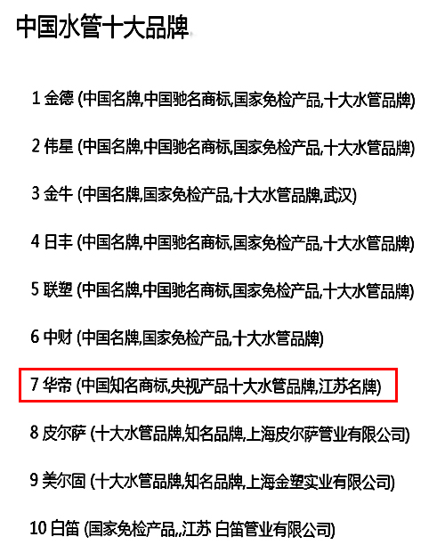 中国管业十大品牌排名