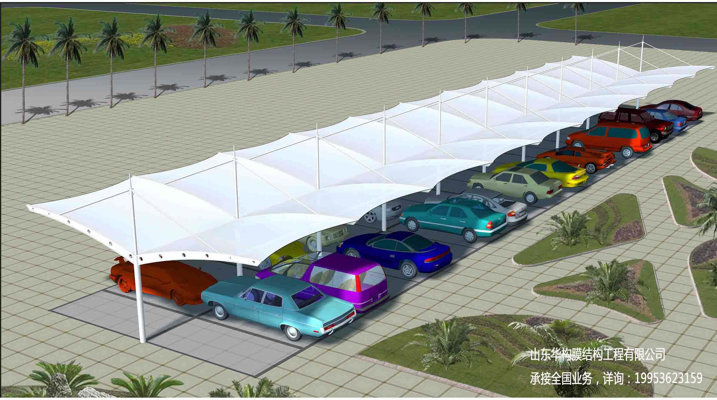膜结构停车棚景观棚张拉膜看台遮阳棚优点
