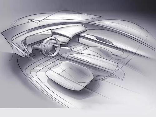汽车内饰造型草图1