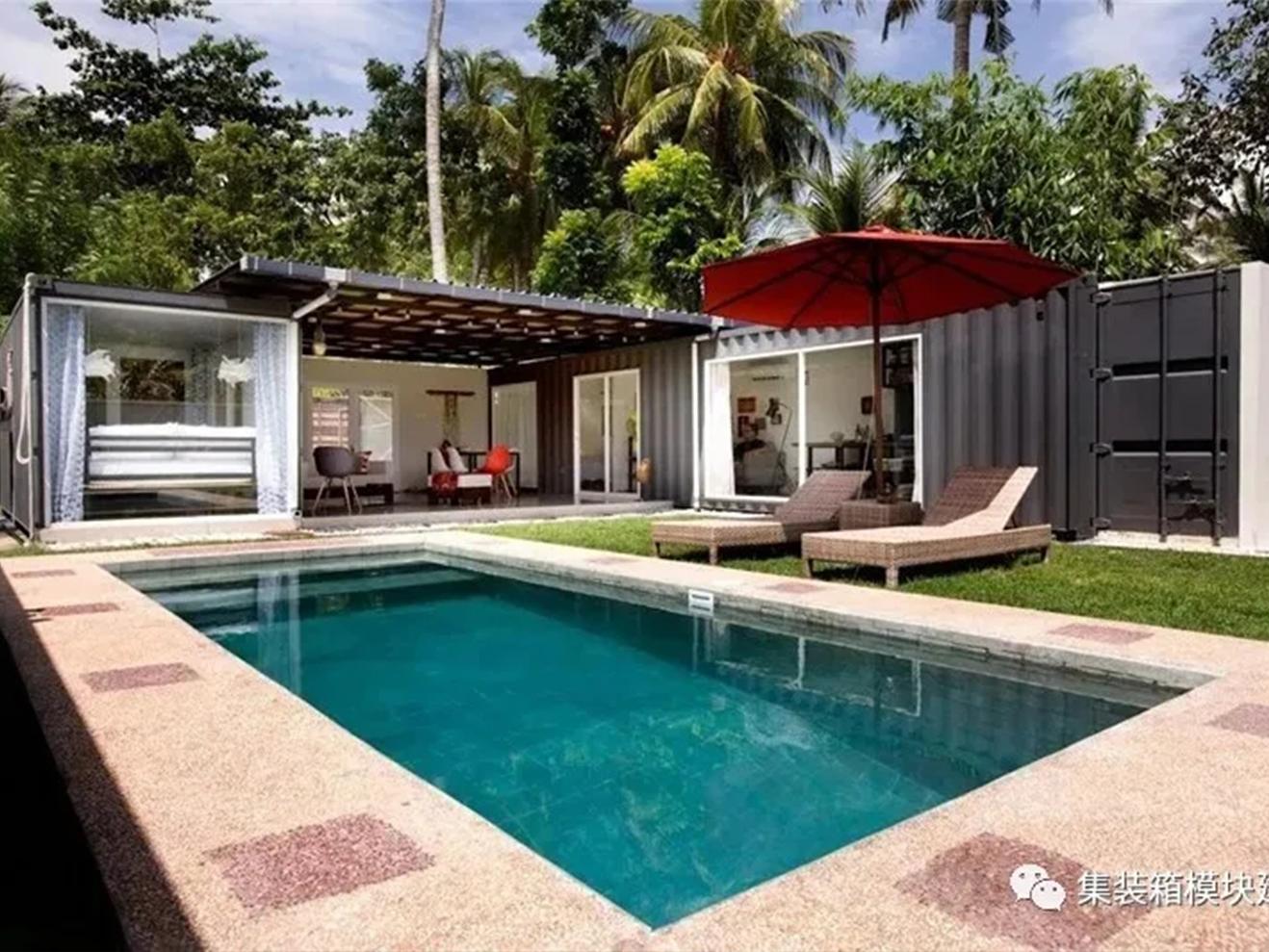 集装箱现代度假屋,带泳池的半围合结构最舒服!