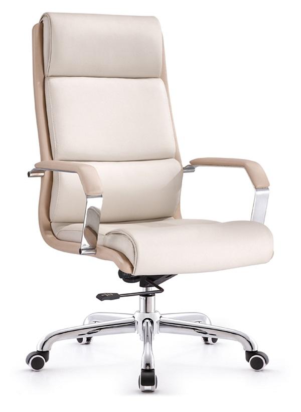 白色黑色浅色舒适皮料办公椅
