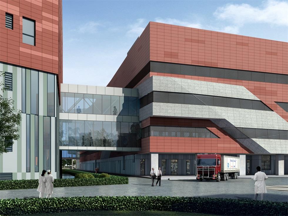 沈阳幕墙改装与中国医科大学浑南国际医院工程,我司正在安装电动开启窗。