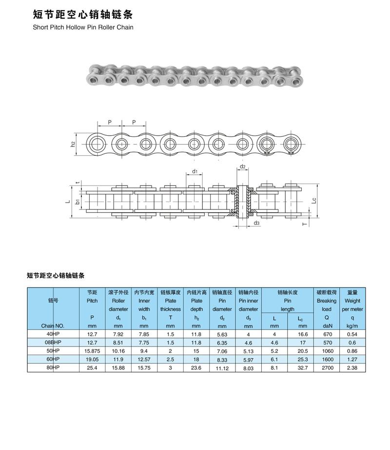 短节距空心销轴不锈钢链条说明