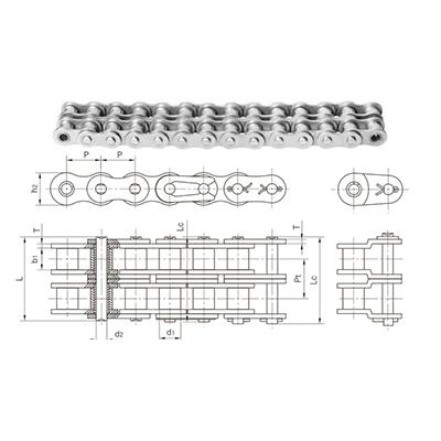 2.不锈钢双排短节距滚子链条
