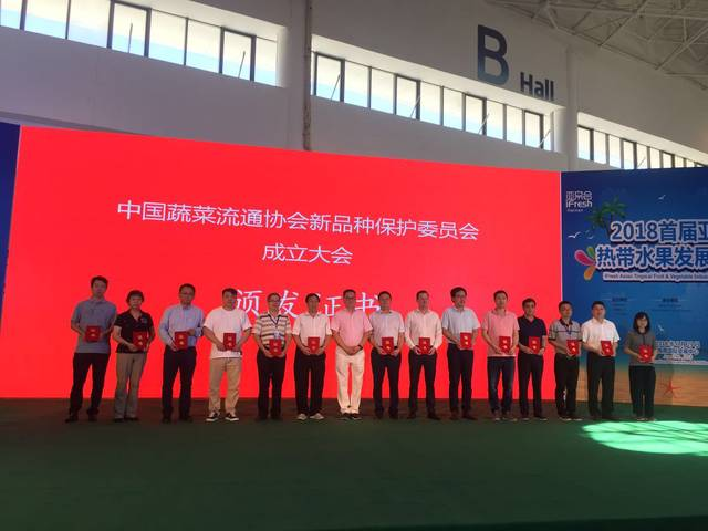 """中国蔬菜流通协会新品种保护委员会在""""海果会""""现场举行成立大会"""