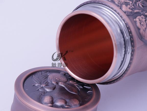 云南竹节纯紫铜保温杯