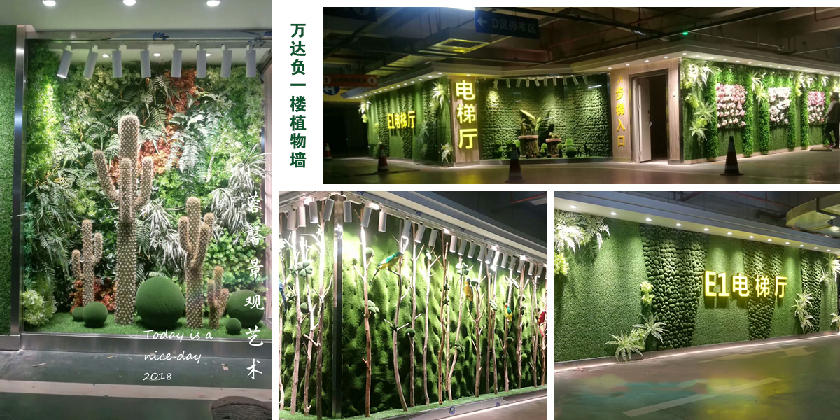 万达负一楼植物墙案例