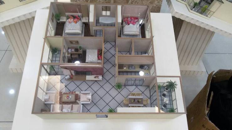 三室一厅地产户型沙盘模型制作展示