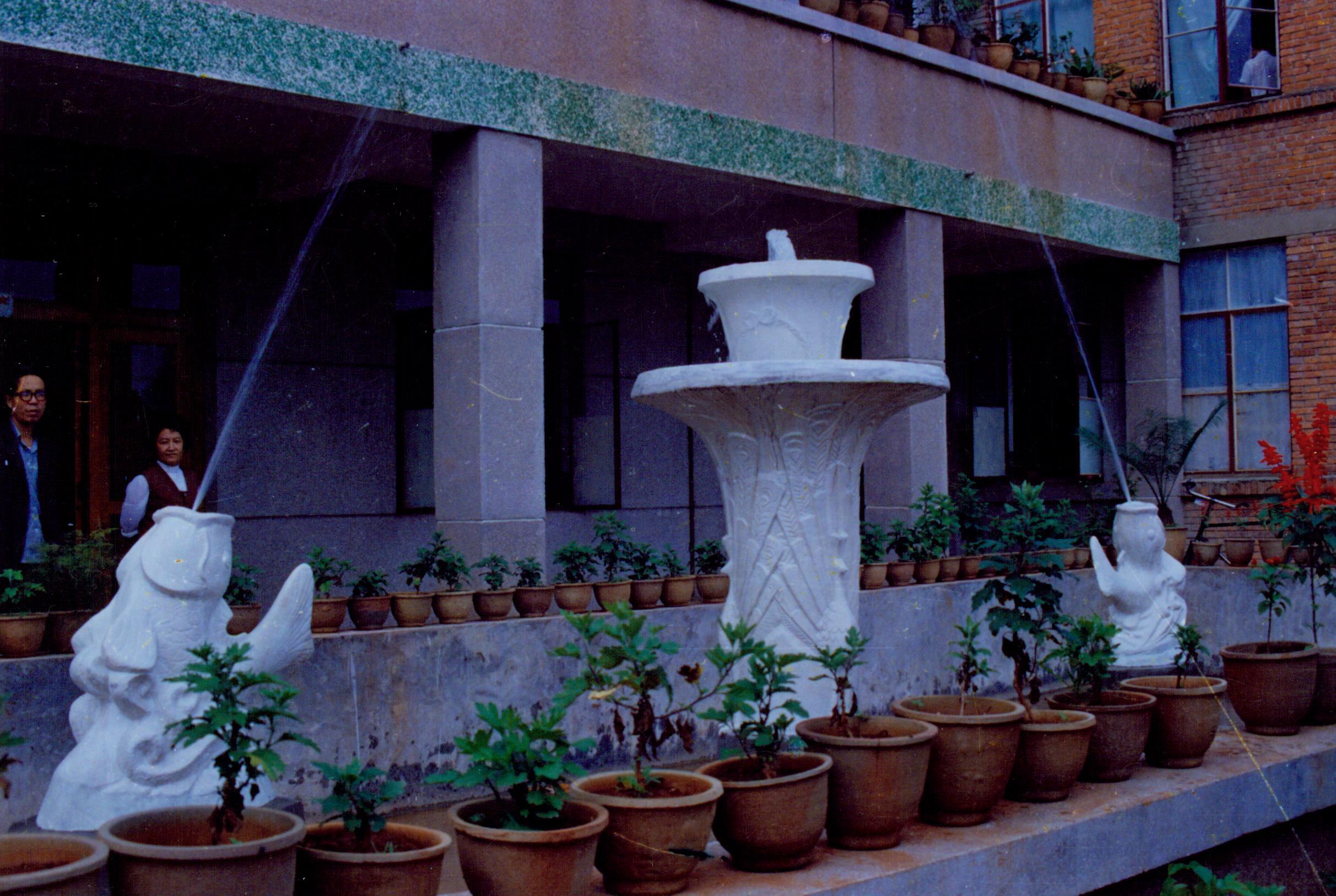 省钢窗厂雕塑 -孔雀金鱼喷水柱(500)