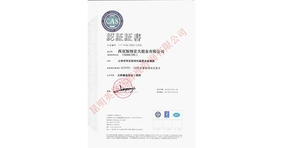 西双版纳质量认证证书