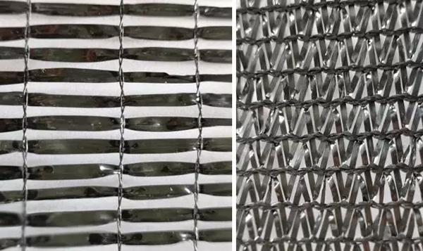 左为平织网,右为针织网