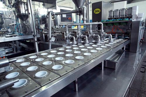 酸牛奶自動灌裝、封蓋過程