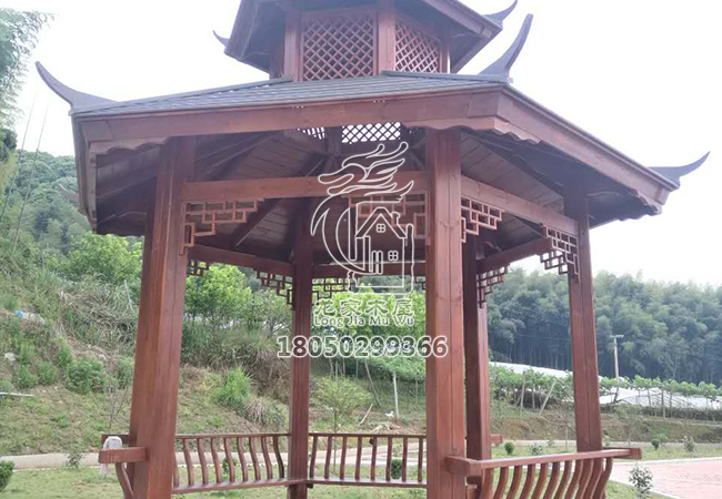 福州双层防腐木凉亭