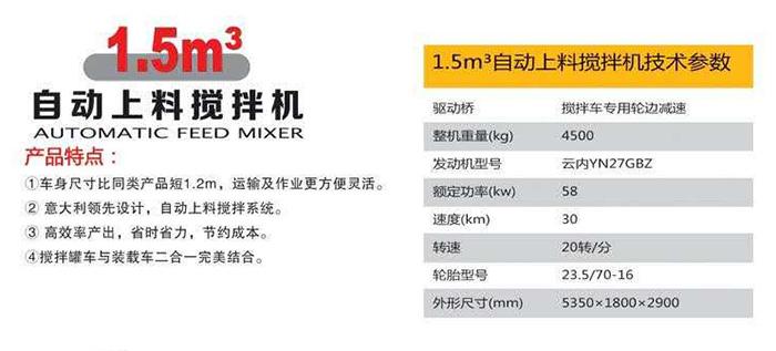 1.5m³自动上料搅拌机