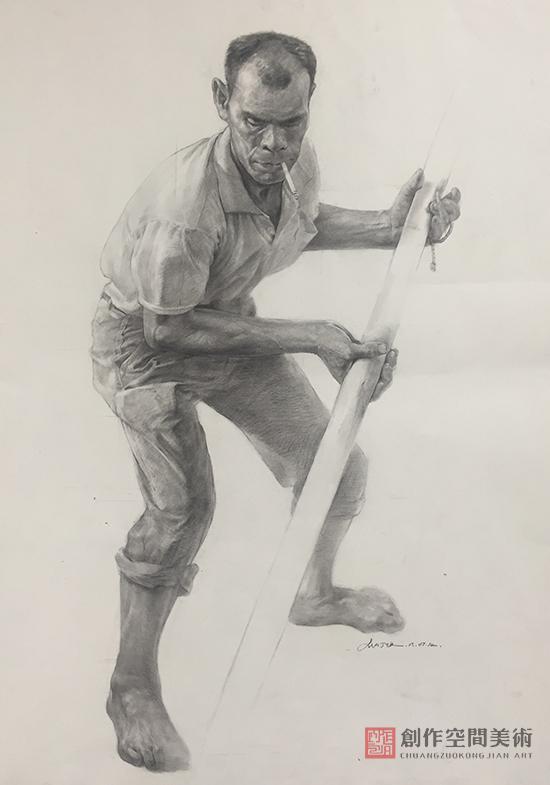 劳动者形象素描画