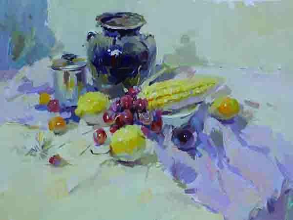 坛子与水果色彩静物
