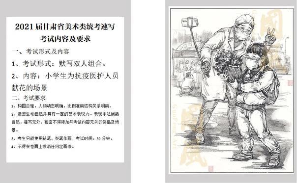 甘肃省2021届美术联考|速写真题&范画示范