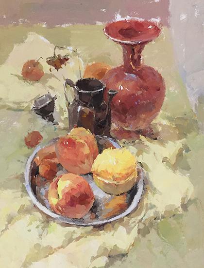 器皿桃水粉画
