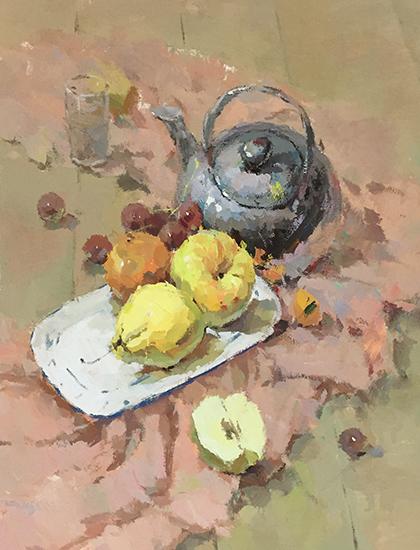 盘子里的水果色彩