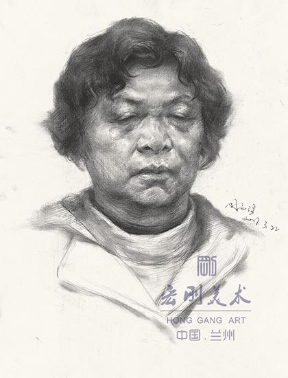 中年妇女素描头像