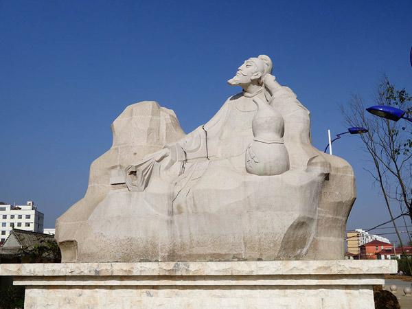 2014年徽县广场设计制作圆雕 《李白醉卧青泥岭》