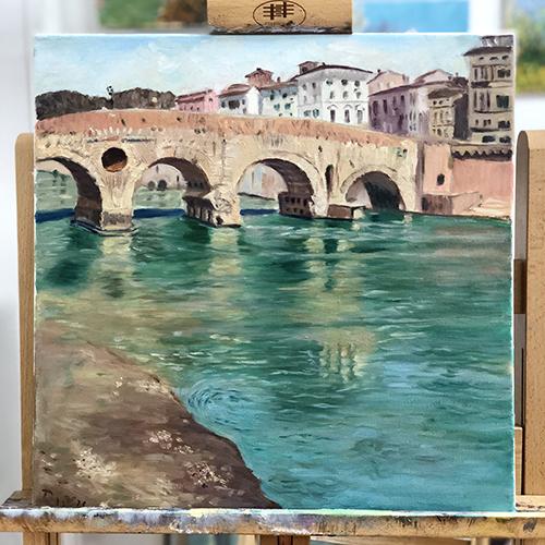 油画水上拱桥