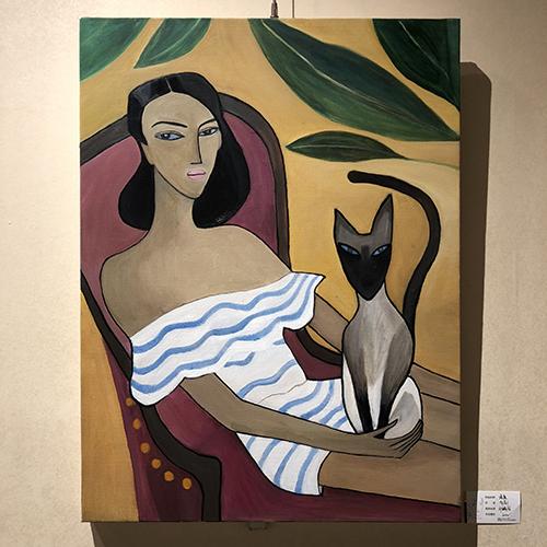 油画-女人与猫