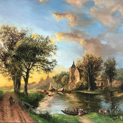 油画城堡大树