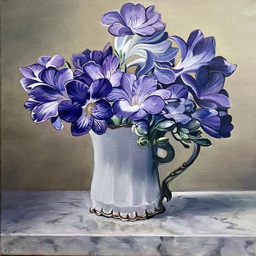 油画-紫花