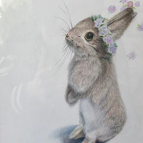 彩铅-站立的兔子
