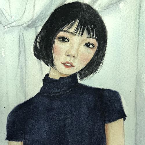 水彩-旗袍女