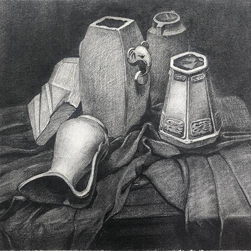 素描-静物壶