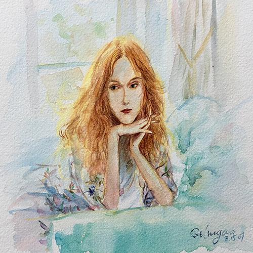 水彩-美女人物