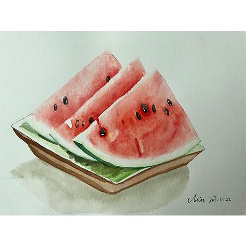 水彩西瓜画