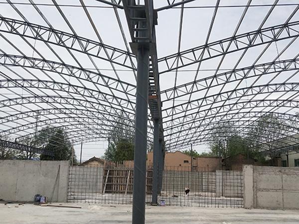 刘家峡煤厂5000平米拱形大棚制作安装