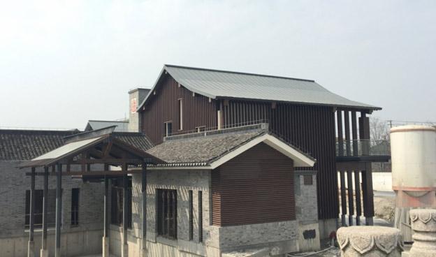 上海广富林文化遗址矮立边ZC25-430弯弧板工程