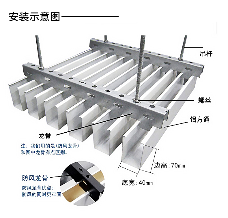 铝制吊顶方通