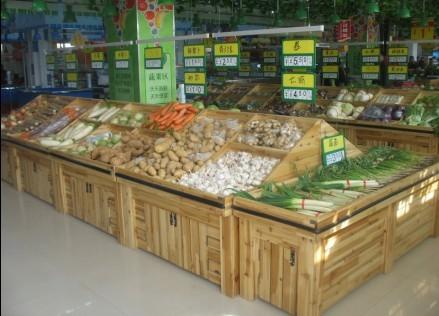木制超市蔬菜货架运用