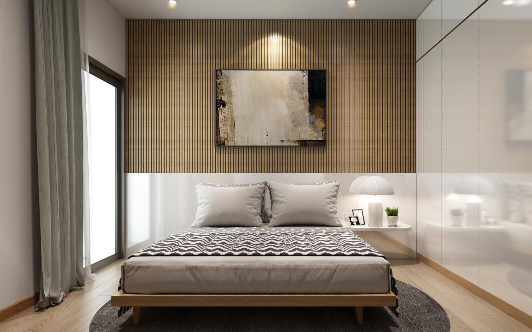 苏州原木色卧室背景墙定制