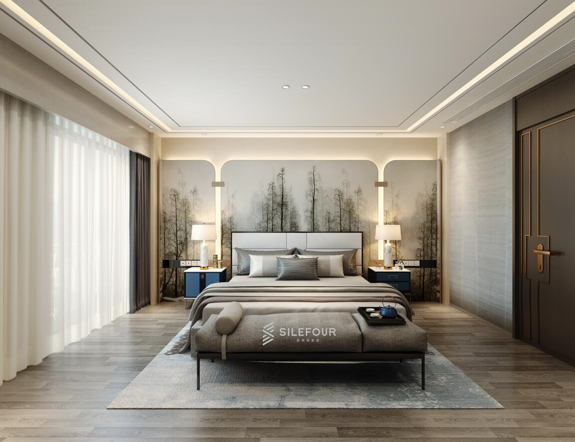 新中式卧室背景墙