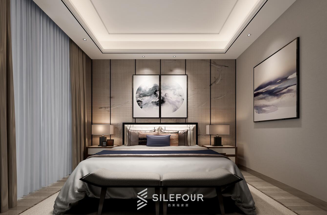 新中式卧室背景墙定制