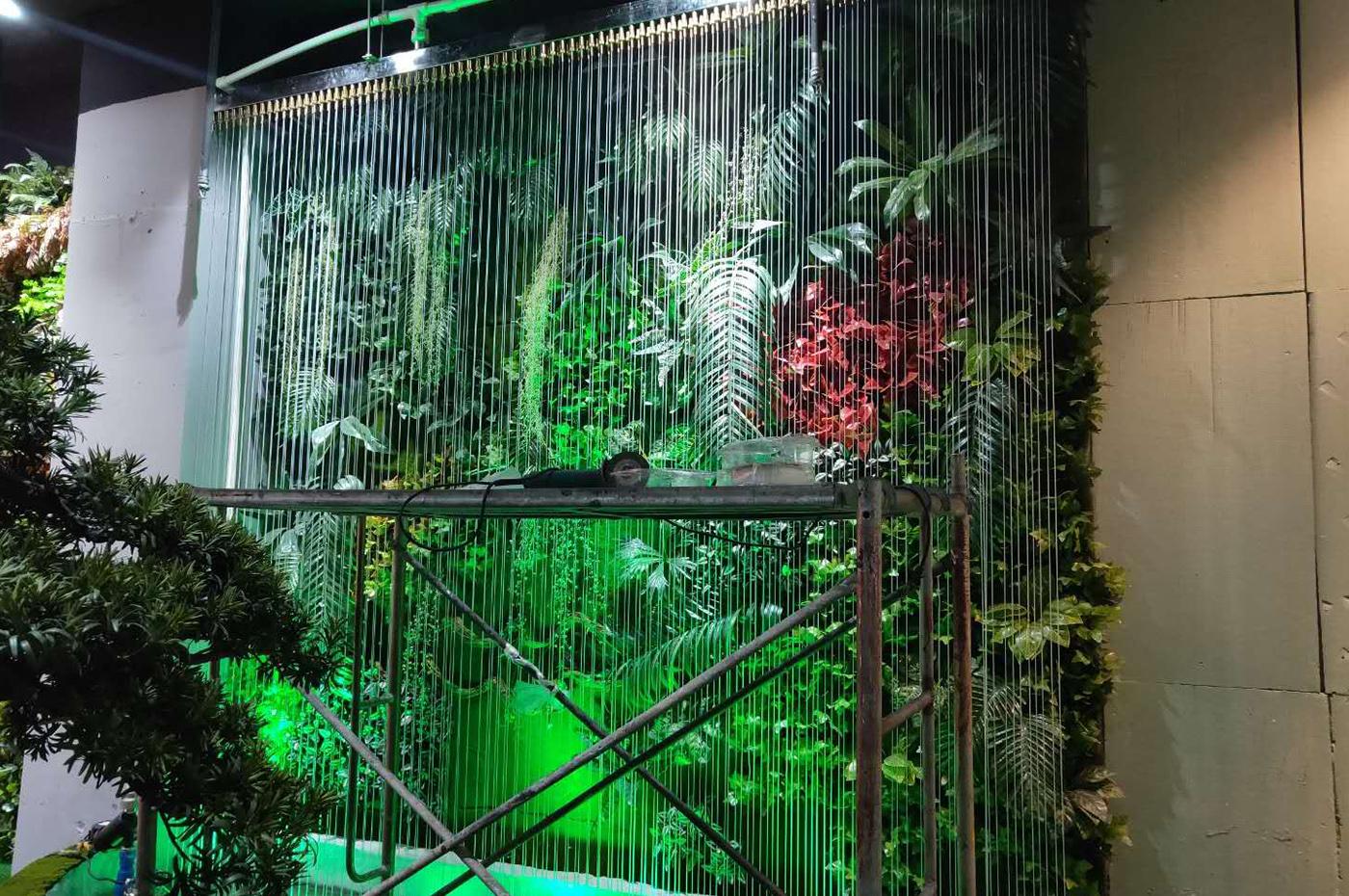 四季花艺室内拉线水幕