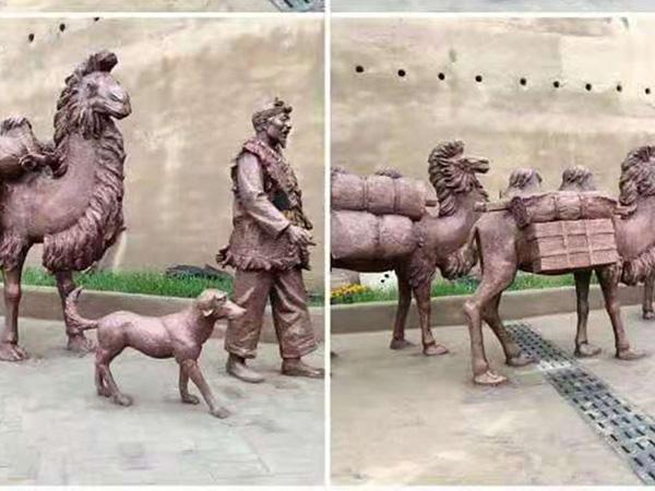 陕西靖边民宿博物馆仿铜玻璃钢雕塑设计制作